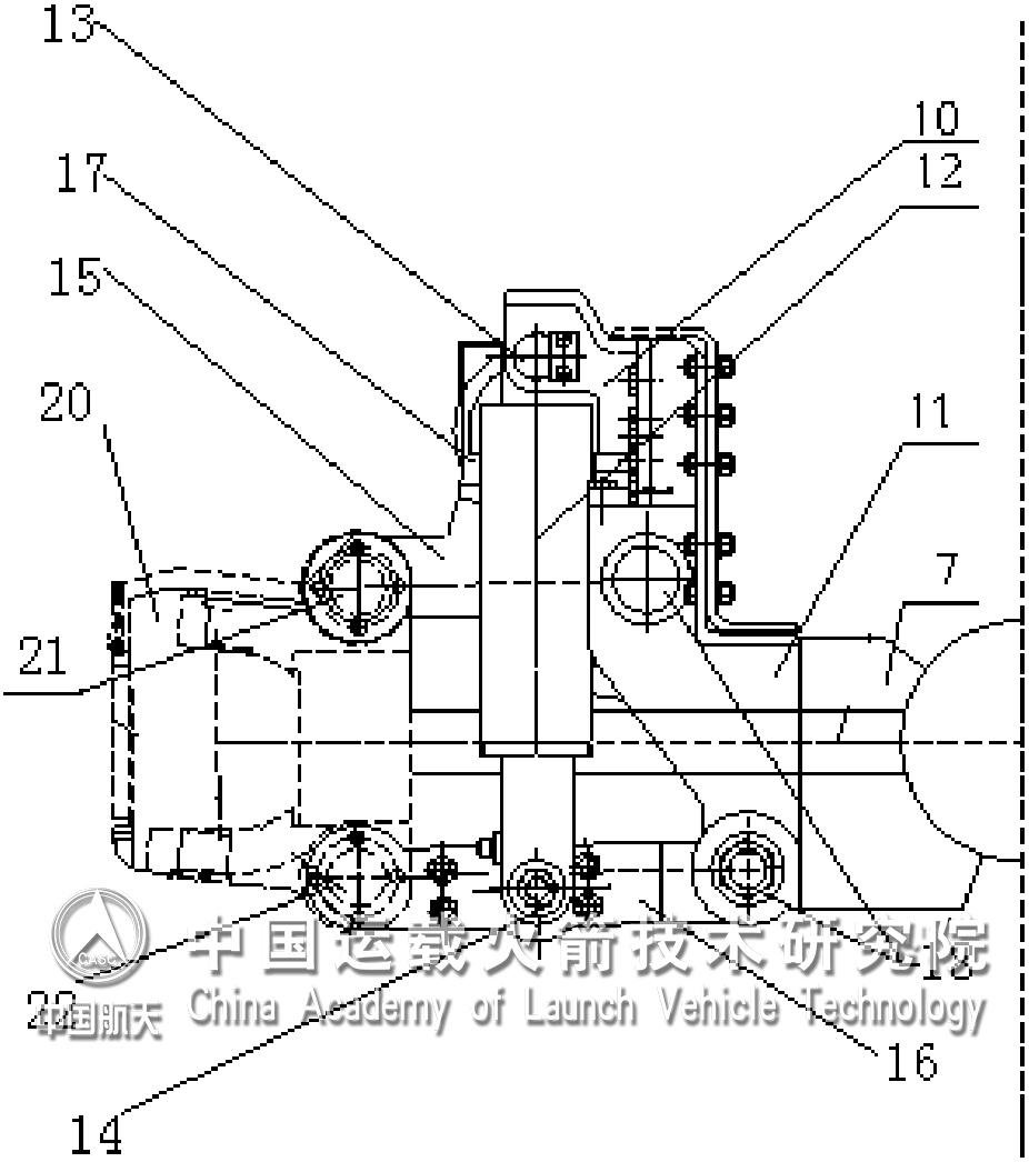 """""""油气弹簧独立悬挂机构主体结构""""示意图。   近日,中国运载火箭技术研究院泰安航天特种车有限公司自主研发的""""油气弹簧独立悬挂机构""""获国家实用新型专利。   车辆的转向驱动桥和整体式驱动桥均通过油气弹簧悬挂机构安装在车架上。该新型油气弹簧独立悬挂机构,当车辆行驶时,通过上、下横臂承受车辆产生的纵向力和横向力,路面对车轮的垂向冲击力通过上、下横臂传递到油气弹簧上,油气弹簧绕着其上支架和下横臂转动,同时长度发生变化,内部气体体积也发生变化,从而吸收和释放能量,起"""