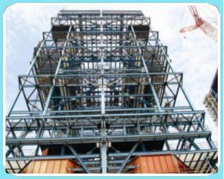 锅炉钢结构是由梁,柱,支撑等构件组成的钢结构空间体系,是